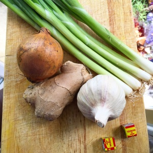 Prepare onions, ginger and garlic